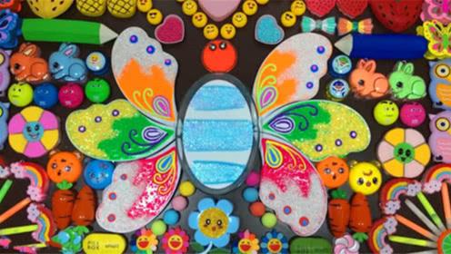 DIY史莱姆教程,小花黏土+珍珠米粒泥+水彩笔+水果果冻泥,超漂亮