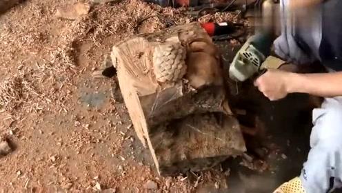 一节普普通通的木头,被牛人折腾半天后,成品太惊艳了!