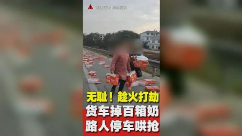 趁火打劫!货车掉落数百箱酸奶遭路人哄抢,司机拦不住损失近万元