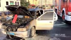 吉林临江门一轿车突然自燃烧成骨架