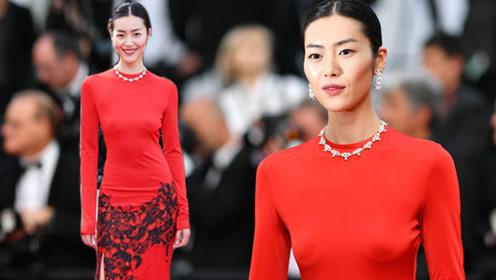 刘雯真空红裙亮相戛纳红毯 身材高挑美腿性感