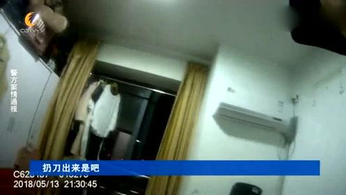 """杭州醉酒屠夫看错家门 徒手砸开邻居家 还向邻居扔""""杀猪刀"""""""