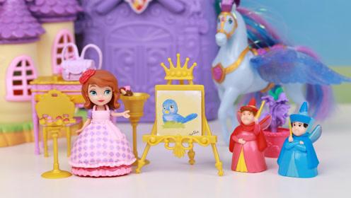 小公主苏菲亚的皇家绘画课玩具开箱 趣盒子迪士尼公主玩具大全