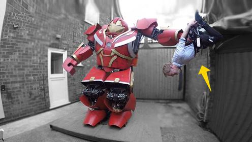 英国牛人小伙,自制钢铁侠反浩克装甲,一手抓起一个人,还会喷火