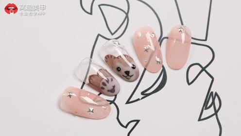 夏季手绘可爱小熊美甲教程