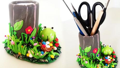 用卷纸筒和超轻粘土手工制作创意笔筒,diy手工