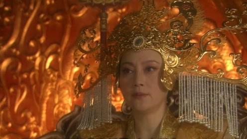 王母处治织女众神仙不敢说话,有玉帝在身旁王母无奈做出决定