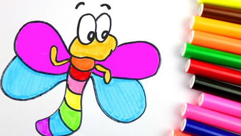 儿童简笔画基础,漂亮的蜻蜓!轻松画卡通简笔画动物昆虫