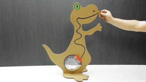 趣味diy,手工达人用纸板制作卡通龙糖果收集器,就像在喂龙一样