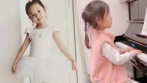 5岁甜馨弹钢琴穿着睡衣坐姿笔挺 网友:只爱馨爷不管他人!