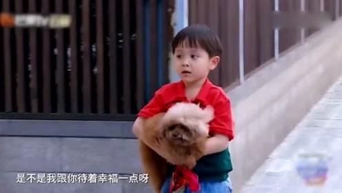 大麟子找到丢失的狗狗,抱在怀里,来自萌娃暖暖的爱