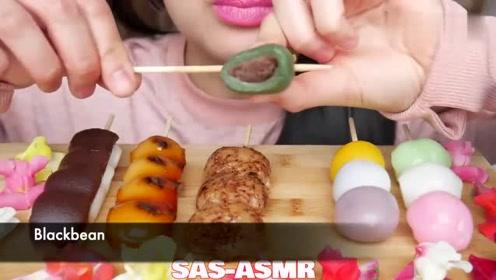 大胃王小姐姐吃团子,软软的嘴唇咬上去,这画面不要太美!