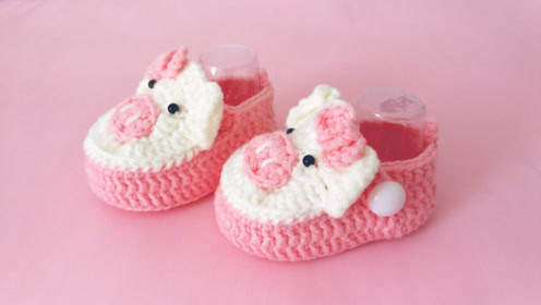钩针编织宝宝学步鞋 手工小萌猪婴儿鞋钩织方法 第一集