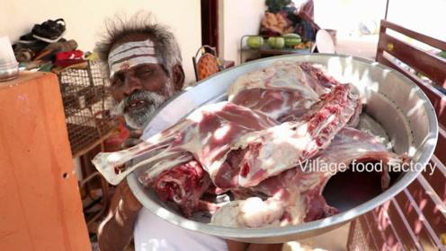 印度土豪老大爷,拿来几个大羊腿,看看他是什么吃法
