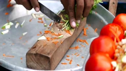 印度小吃:鹰嘴豆凉拌,这刀工简直了得,看完长见识