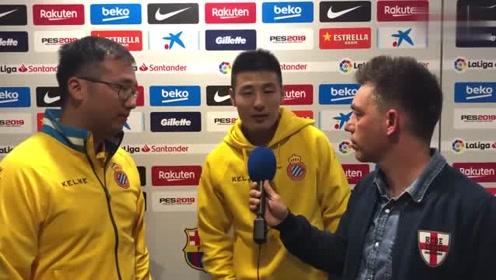 西班牙人0-2不敌巴萨,武磊感到很可惜,听听他怎么说