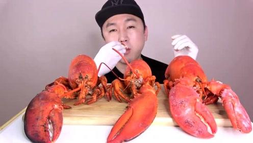 韩国吃播大叔:今天吃大龙虾,太过瘾了,看得我好想吃