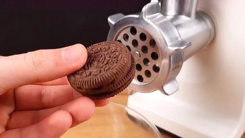 将饼干放进绞肉机中,下场真是惨不忍睹,瞬间被秒成渣!
