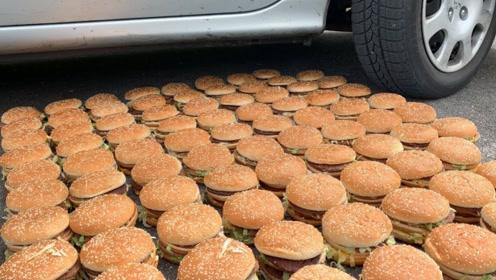 老外开车碾压100个汉堡,画面过于美味,吃货却看不下去了!