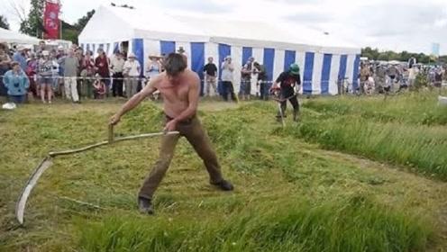 大叔发明割草机,不用油不用电,与专业割草机比赛谁更胜一筹?