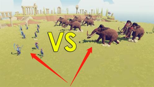 5只猴子挑事7只猛犸象,一点战斗力都没有,看着都犯困