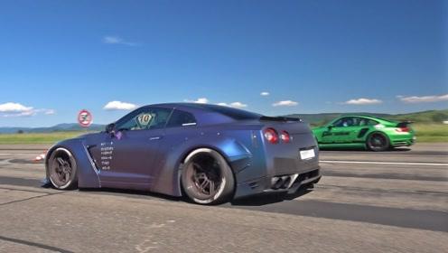 日产GT-R R35 挑战 保时捷9FF,起步就尴尬了!