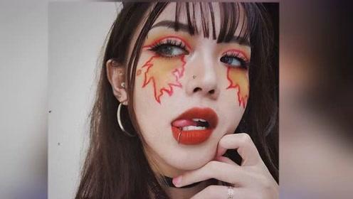 """20岁越南女孩把脸当成""""画布""""超浮夸艺术感眼妆吸引数十万粉丝"""