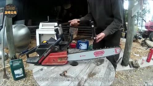 """农村大叔发明""""免测量""""电锯,省时又省力,30块钱造一把"""