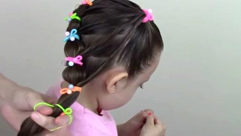 给女儿这样把头发简单一扎,出门小朋友都羡慕她
