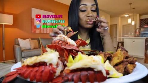 黑人阿姨吃波士顿大龙虾和炸鸡,大口吃的真满足,看着都流口水了