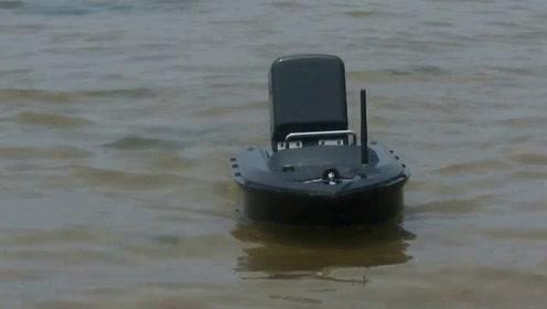 渔小将T08型单手智能遥控打窝船下海实测