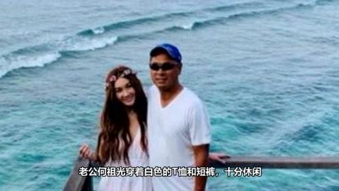 53岁温碧霞穿白色连衣裙秀苗条身材 与老公甜蜜亲吻秀恩爱