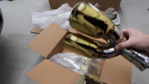 老外花10万定制黄金排气管,安装在兰博基尼上,这钱花的值!