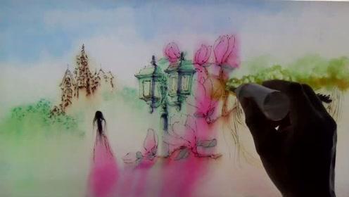水中墨彩《我把你画成花》