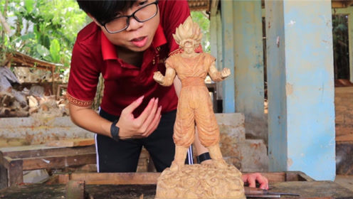 老外用实木雕刻出悟空模型,细节处理太完美,手艺太好了!