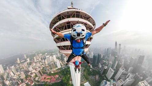 作死老外从世界第7高塔跳下,场面实在太惊险!镜头记录全程