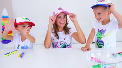 萌娃们自己设计绘画的衣服和帽子可真漂亮!小家伙们真是棒棒哒!
