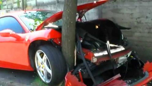 400万法拉利撞树上是啥感受?小伙实力体验,最短命跑车!