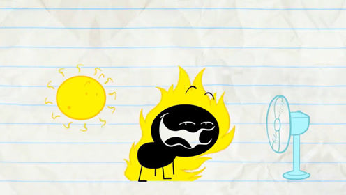 男孩被太阳晒的受不了了,就把它赶走了,没想到太阳爸爸又来了!