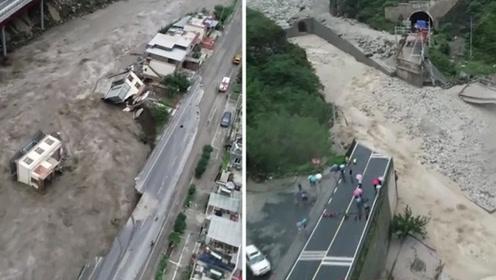 阿坝泥石流造成7死24失联 灾区航拍画面曝光 上万游客正转移