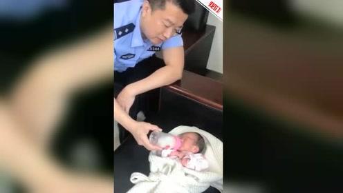"""沈阳一女婴被遗弃草丛 民警""""变身""""临时奶爸"""