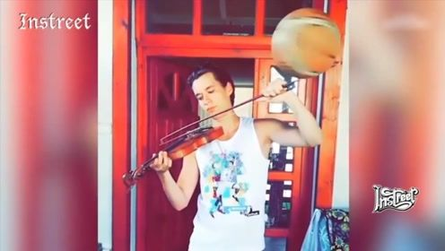 将花式篮球与小提琴结合在一起的玩法,你见过吗?