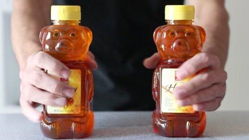 老外挑战5分钟喝完蜂蜜,满满两大瓶的量,看着就觉得齁甜!
