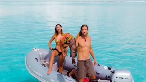 带着老婆孩子,开着游艇去海上捕鱼,网友:有钱真好