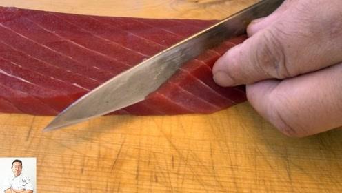 日本厨师怎么处理极品金枪鱼?镜头记录切割全过程,画面太治愈了