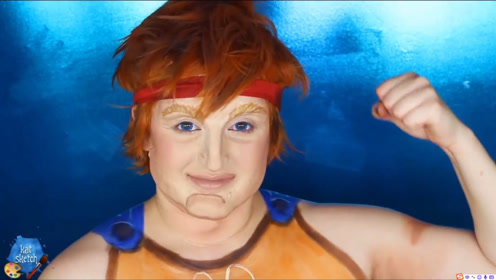 美妆:女子化妆打扮成迪士尼动画里的大力神,鼻子下巴都是假的