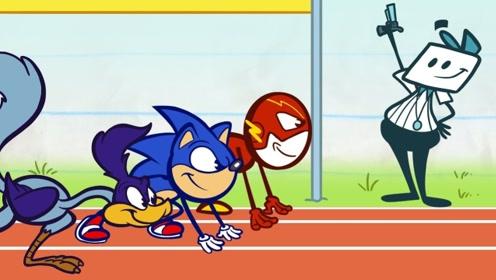 铅笔人参加运动会,总用食物作弊,一溜烟就把别人给超越了!