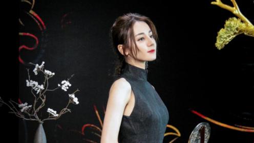 迪丽热巴穿黑色旗袍梳麻花辫 诠释东方女性柔美气质