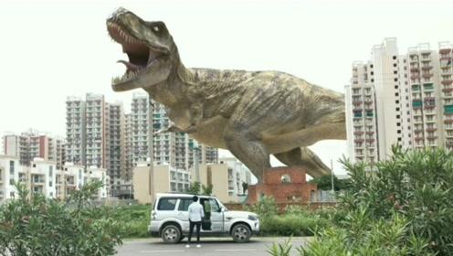 男子开车回家,却在路上看到一群恐龙,一脚油门就冲了过去!