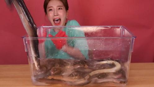 韩国小姐姐吃鳗鱼和泥鳅,看到活物吓到哭,吃的时候都不够吃